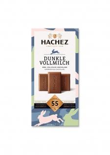 Hachez Flachtafel 55% aus feiner und dunkler Vollmilch Schokolade 100g