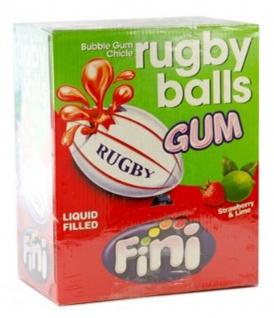 Bubble Gum Rugby Balls mit flüssiger Erdbeer Limetten Füllung Display
