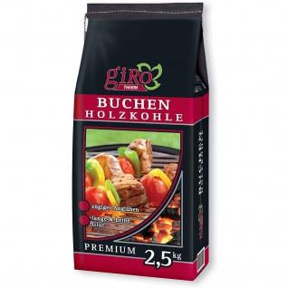 giRo Grillkohle Holzkohle Premium Qualität Buchen Holzkohle 2.5kg
