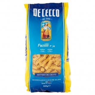 De Cecco Fusilli Nummer 34 Teigwaren aus Hartweizengriess 500g