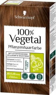 Schwarzkopf 100 Prozent Vegetal Mittelbraun pflanzliche Haarfarbe