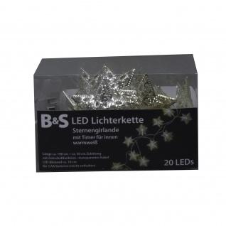 Lichterkette Metallsterne 20 LED warmweiß mit Innen und Aussen