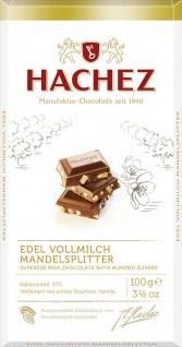 Hachez Edel Vollmilch mit Mandelsplitter Schokoladen Tafel 100g