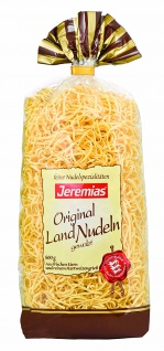 Jeremias Bandnudeln 2 mm gewalzt, Gourmet Frischei-Landnudeln, 2er Pack (2 x 500 g Beutel)