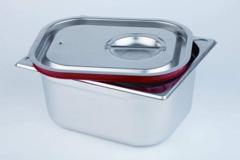 Assheuer und Pott Deckel Gastronmie Behälter mit roter Silikondichtung