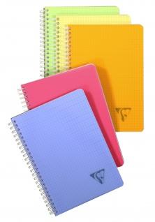 Clairefontaine Linicolor 328325C Spiralbuch (kariert, DIN A4+, 240 x 320 mm, 50 Blatt) 1 Stück farbig sortiert