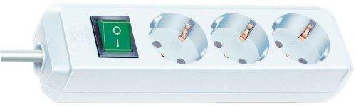 Brennenstuhl Eco-Line, Steckdosenleiste 3-fach, (mit Schalter und 3m Kabel - besonders stromsparend) Farbe: weiß