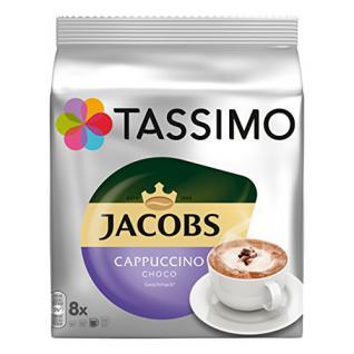 Tassimo Jacobs Cappuccino Choco, Kaffee, Milchkaffee, Kakao, Schoko Geschmack, Kapsel, 8 T-Discs