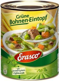 Erasco Grüne Bohnen Eintopf mit Möhren Kartoffeln und zartes Rindfleisch 800g