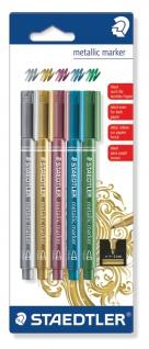 Staedtler Metallic Marker Gold Silber Rot Blau und Grün 1 bis 2mm