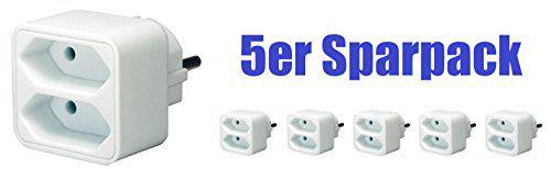 5er Sparpack Brennenstuhl Adapterstecker Euro 2-fach weiß, 1508030