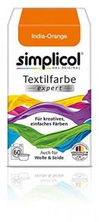 """Simplicol Textilfarbe expert -Für kreatives, einfaches Färben - 1702 """" Indigo-Orange"""" Neu!"""