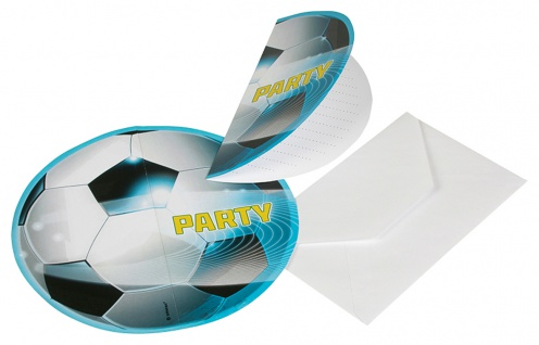6 Einladungskarten Fuball Party 2