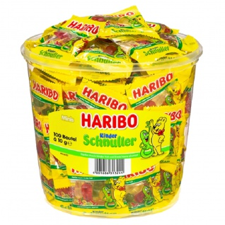 Haribo Kinderschnuller Fruchtgummi im Minibeutel in der Dose 1000g