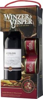 Winzervesper Geschenkverpackung Rotwein 750ml und Winzerwurst 2 x 125g