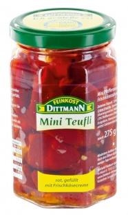 Feinkost Dittmann Mini Teufli - Pfefferonen rot gefüllt mit einer Frischkäsezubereitung Glas, 5er Pack (5 x 275 g)