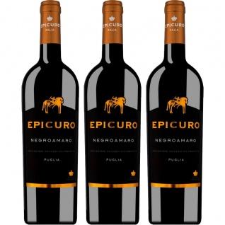 Epicuro Negroamaro Puglia IGP feinfruchtig aus Italien 750ml 3er Pack