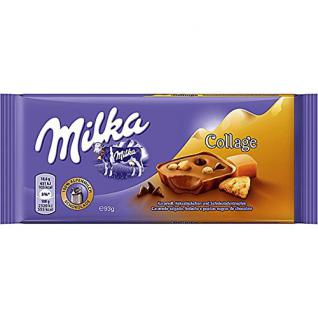 Milka - Collage Schokolade Tafel Karamell Keksstückchen Schokoladentropfen - 93g