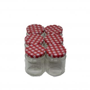 Einkochglas 135 ml Deckel rot-weiß mit twist-off-Deckel 6 Einkochgläser