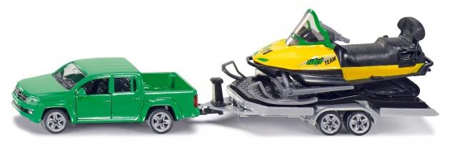 SIKU PKW mit Anhaenger und Snowmobil