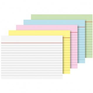 Brunnen linierte Karteikarten A8 5 Farben sortiert 100 Stück