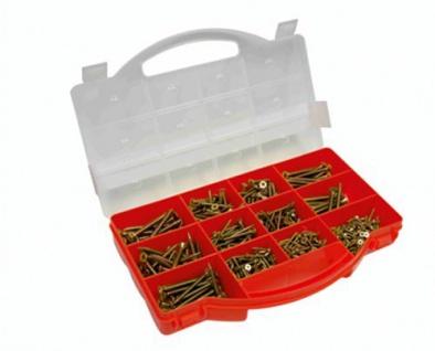 Connex DP8500079 Spanplattenschrauben-Sortimentskasten, PZ Pozidriv Antrieb, Senkkopf, 660- teilig, gelb-verzinkt