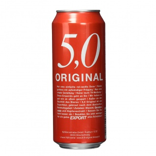 5.0 Original Export Bier goldgelb und mild gehopft EW Dose 500ml