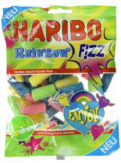Haribo Rainbow Fizz, Gummibärchen, Weingummi, Fruchtgummi Sauer, 175g, 15er Pack
