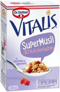 Vitalis Super Müsli -30% Kohlenhydrate rote Früchte und Joghurtkonfekt 380g