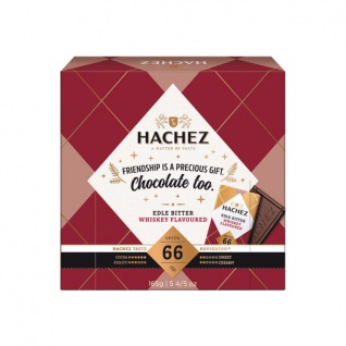 Hachez Täfelchenbox mit Edelbitter gefüllt und Whiskey verfeinert 165g