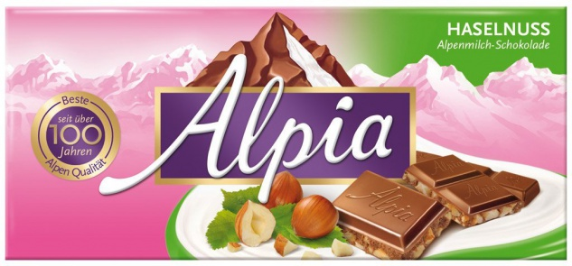 Alpia Alpenmilch Tafelschokolade mit gehackten Haselnüssen 100g
