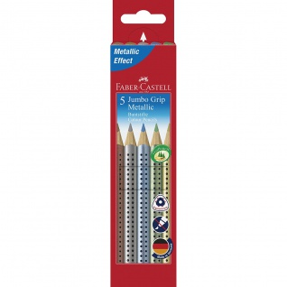 Faber Castell Colour Pencils Buntstift Jumbo Grip Metallic 5er Etui