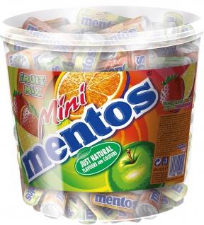 Mentos Mini Fruit Mix im Eimer mit 120 Rollen Kaubonbons 1260g