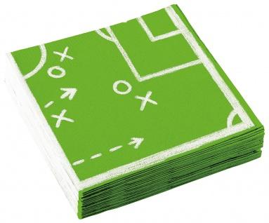 Amscan 20 Servietten Party Fußballer in Grün und Weiß aus Papier