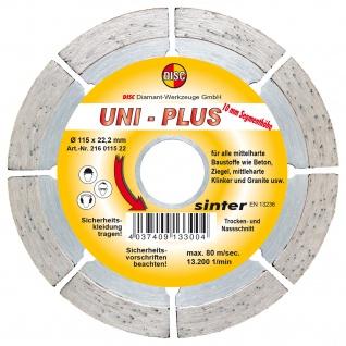 Disc Dia Scheibe Uni Plus Bau für Trocken und Nassschnitt 115x22.2 mm