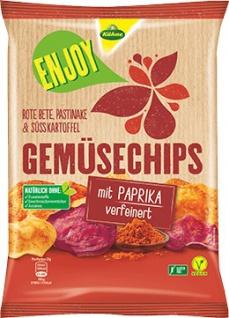 Kühne ENJOY Gemüsechips Chips mit Paprika verfeinert 75g 2er Pack
