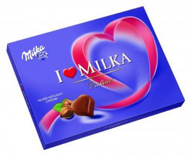 Milka I Love Pralines Herzen Nuss Nougat Creme Menge:110g