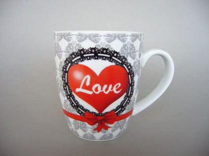 Kaffeebecher Herz Kaffeetasse Becher Teetasse Design Love 37cl