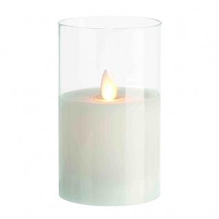 LED Kerze im Glas mit beweglicher Flamme mit Timer 125mm x 75mm