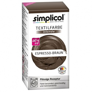 Simplicol Textilfarbe intensiv all in 1 Flüssige Rezeptur Espresso-Braun Neu!