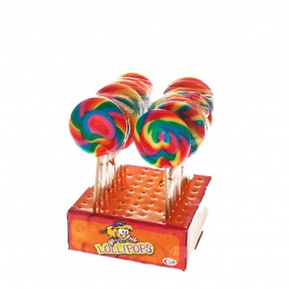 Rainbow Spiral Lolly Maxi extra großer Frucht Lutscher 100g Display
