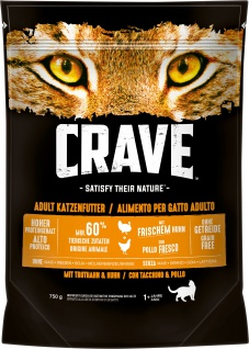 Crave Trockenfutter Adult für Katzen mit Truthahn und Huhn 750g