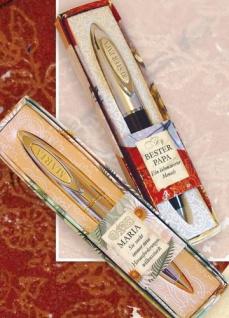 Kugelschreiber Clip mit Buchstabengravur V in einem schicken Etui