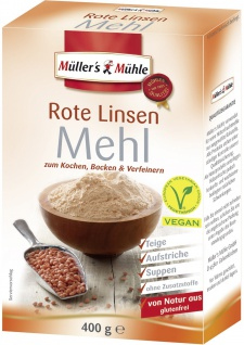 Müllers Mühle Rotes Linsen Mehl zum Backen Kochen und Verfeinern 400g