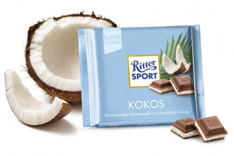 Ritter Sport Kokos mit knackigen Kokosraspeln Kokos Milchfüllung 100g