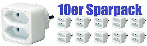 10er Maxi Sparpack Brennenstuhl Adapterstecker Euro 2-fach weiß, 1508030