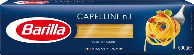 Barilla Nudeln Capellini Nummer 1 Hartweizengrieß 500g 4er Pack