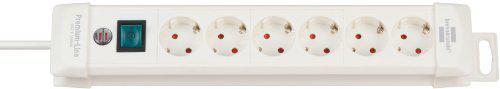 Brennenstuhl Premium-Line, Steckdosenleiste 6-fach (Steckerleiste mit Schalter und 3m Kabel - 45° Winkel der Schutzkontakt-Steckdosen) Farbe: weiß
