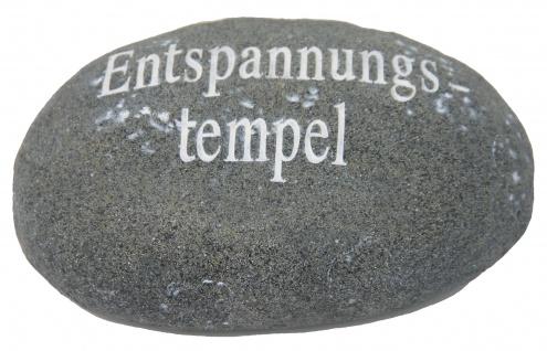 Dekostein aus Kunstharz mit der Aufschrift Entspannung Tempel grau