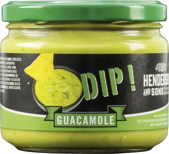 Henderson Sons Guacamole Dip grün cremig pikant im Glas 300g